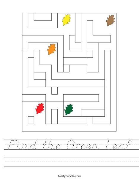 Find the Green Leaf Worksheet