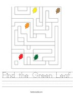 Find the Green Leaf Handwriting Sheet