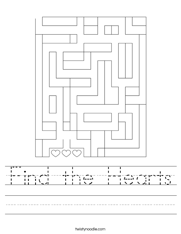 Find the Hearts Worksheet