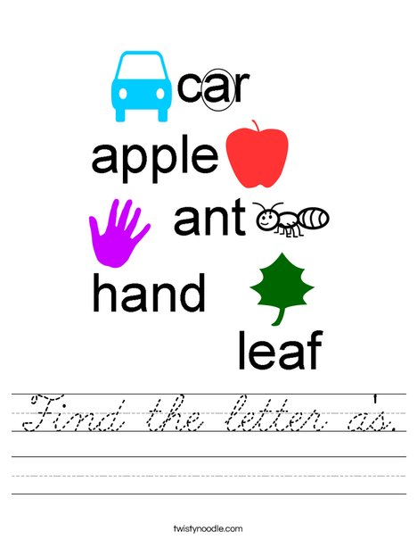 Find the letter a's. Worksheet
