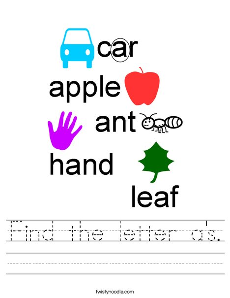 Find the letter a's. Worksheet
