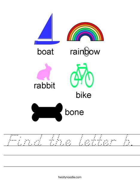 Find the letter b. Worksheet
