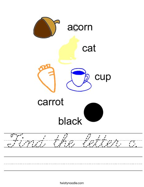 Find the letter c. Worksheet