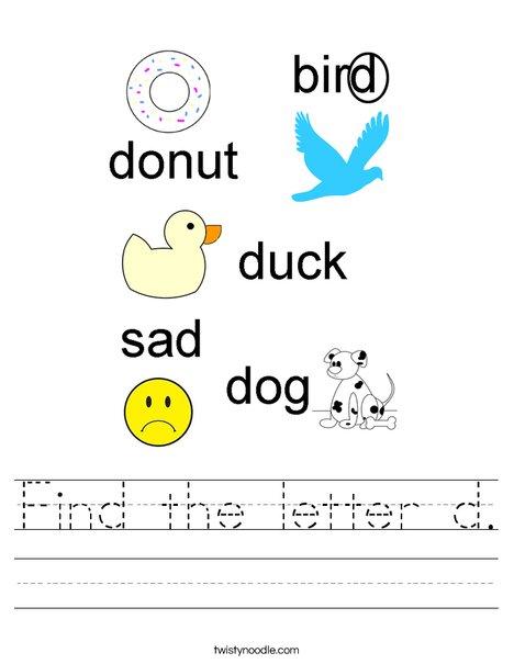 Find the letter d. Worksheet