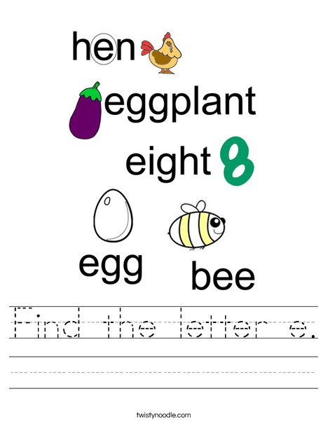 Find the letter e. Worksheet
