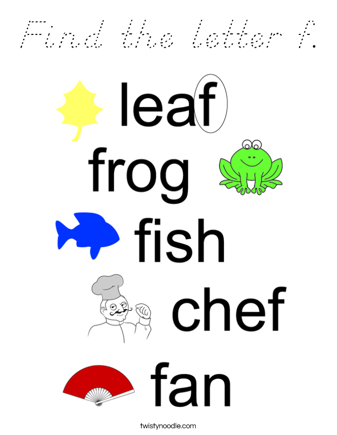 Find the letter f. Coloring Page