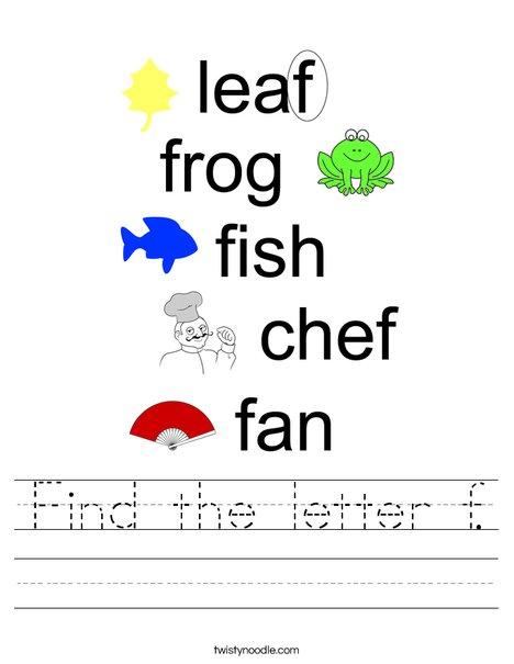 Find the letter f. Worksheet