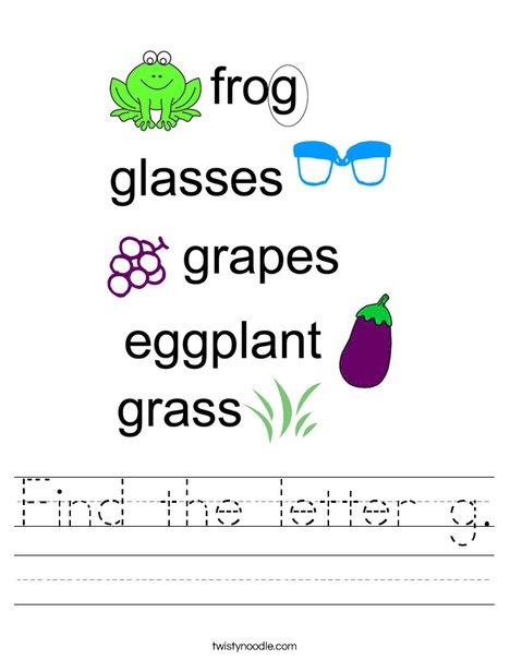 Find the letter g. Worksheet