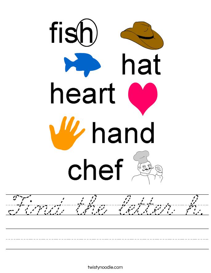 Find the letter h. Worksheet