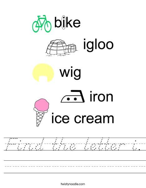 Find the letter i. Worksheet