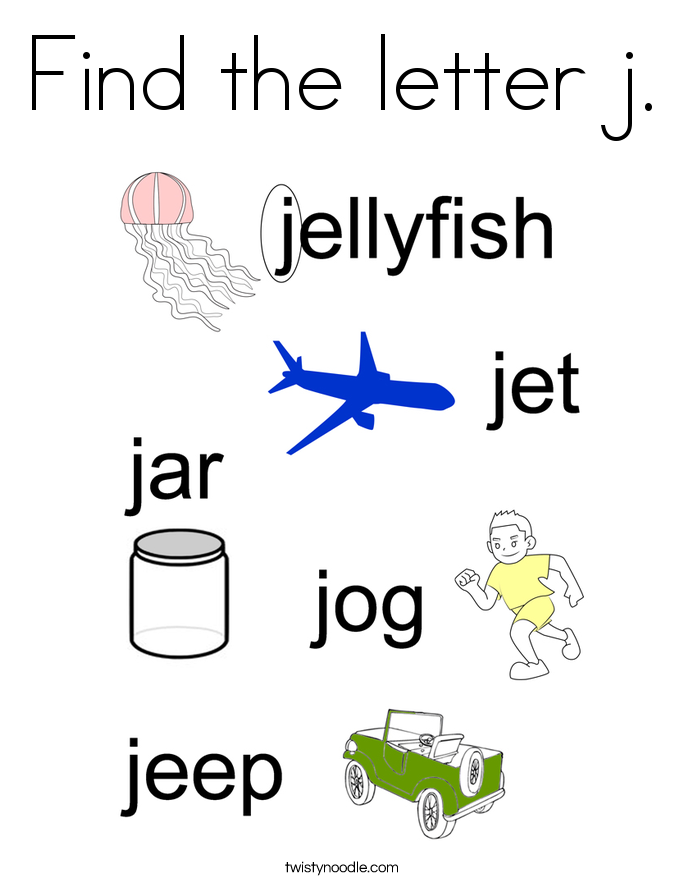 Find the letter j. Coloring Page