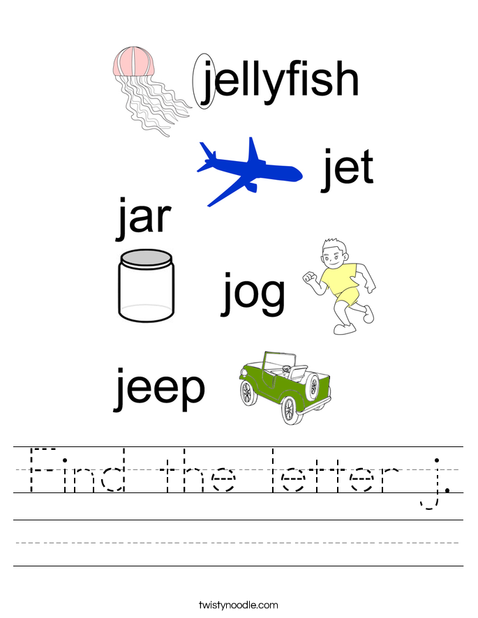 Find the letter j. Worksheet
