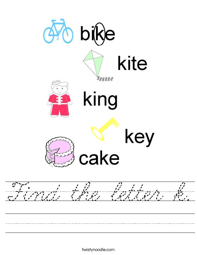 Find the letter k. Worksheet