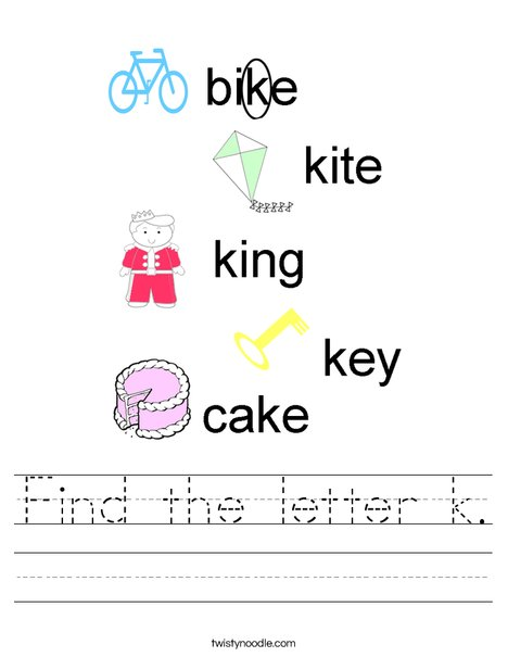 Find the letter k. Worksheet