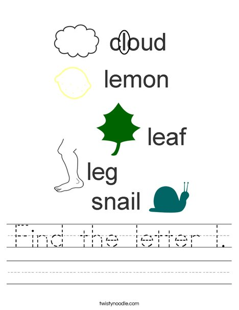 Find the letter l Worksheet - Twisty Noodle