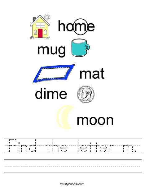 Find the letter m. Worksheet