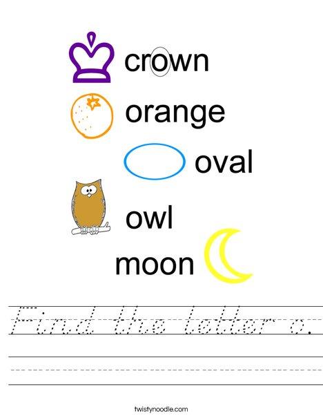 Find the letter o. Worksheet