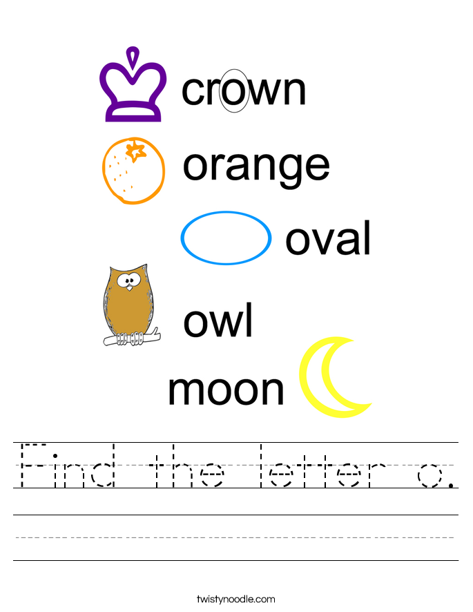 Find the letter o. Worksheet