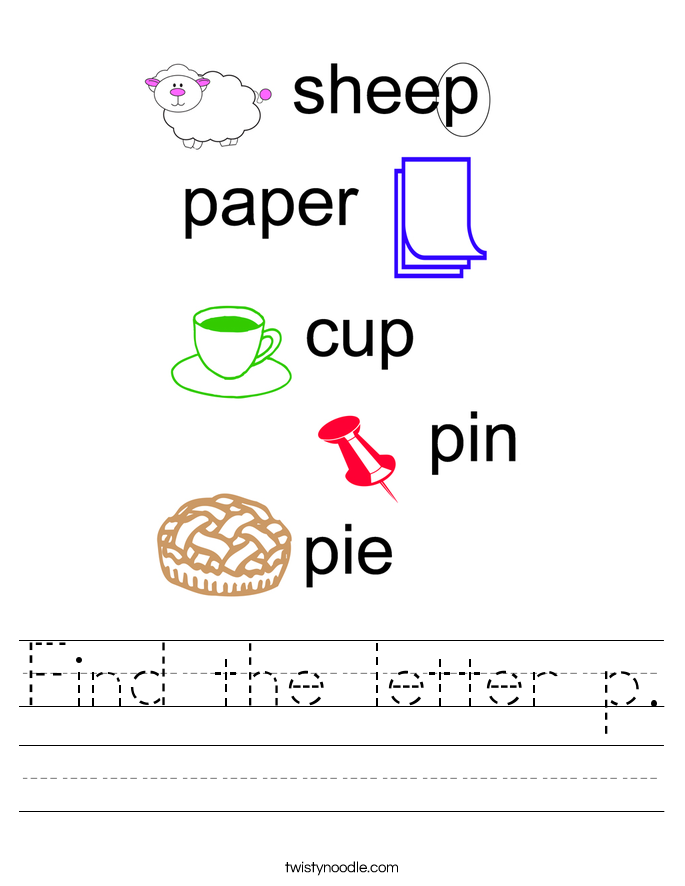 Find the letter p. Worksheet