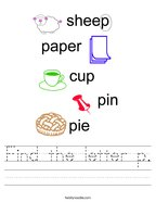 Find the letter p Handwriting Sheet