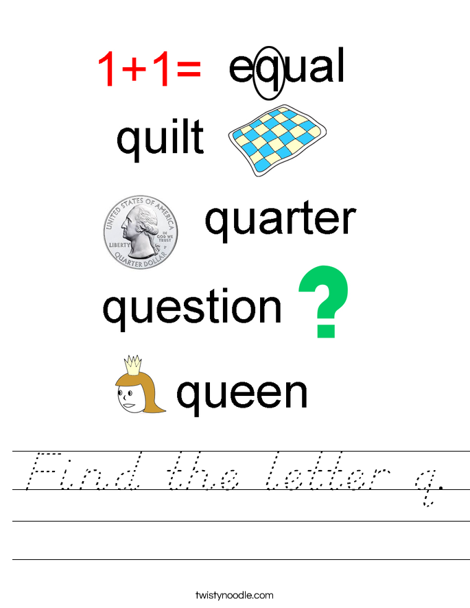 Find the letter q. Worksheet