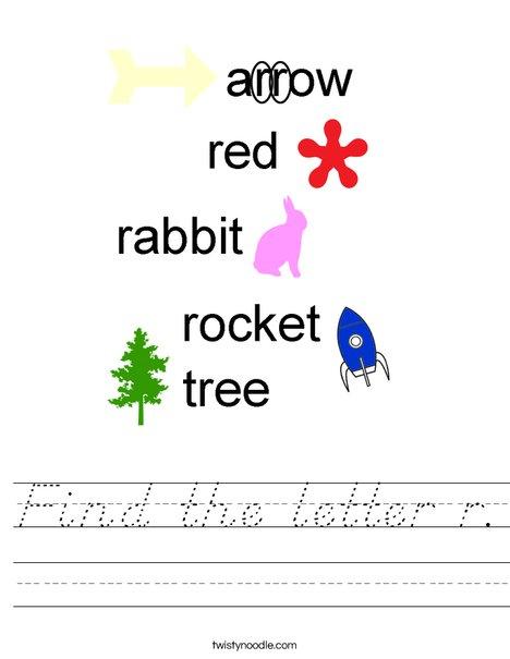 Find the letter r. Worksheet