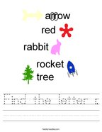 Find the letter r Handwriting Sheet