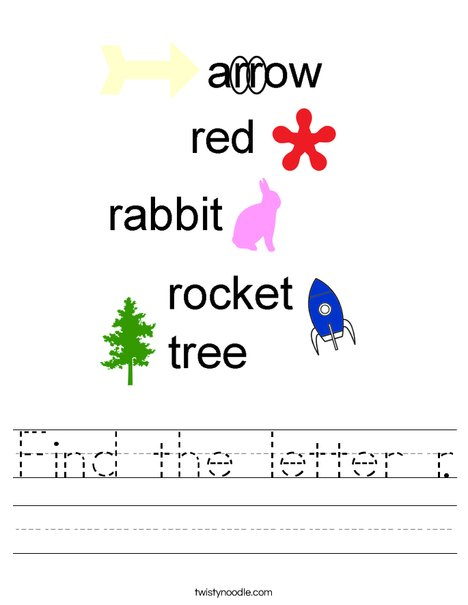 Find the letter r. Worksheet