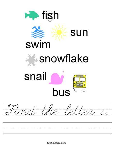 Find the letter s. Worksheet