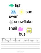 Find the letter s Handwriting Sheet