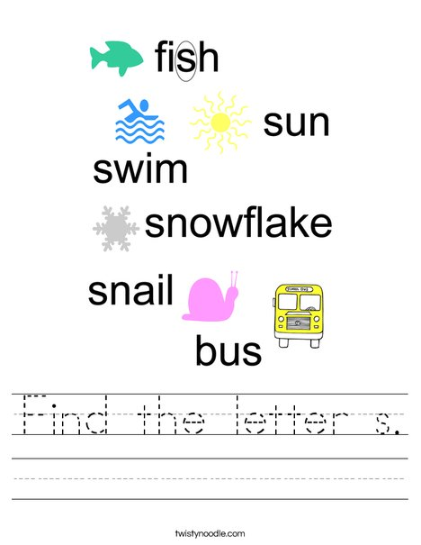 Find the letter s. Worksheet