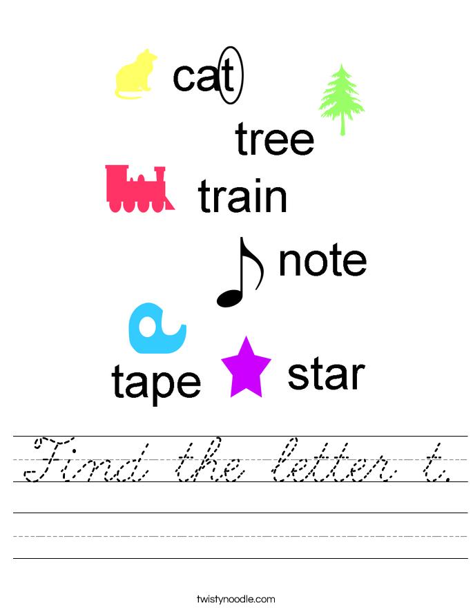 Find the letter t. Worksheet