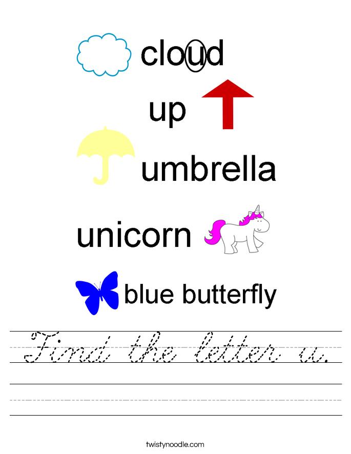 Find the letter u. Worksheet