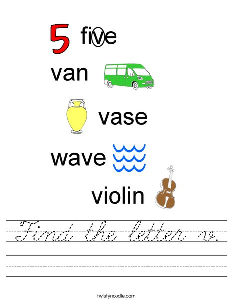 Find the letter v. Worksheet