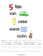 Find the letter v Handwriting Sheet