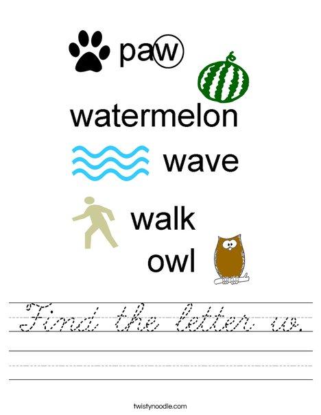Find the letter w. Worksheet