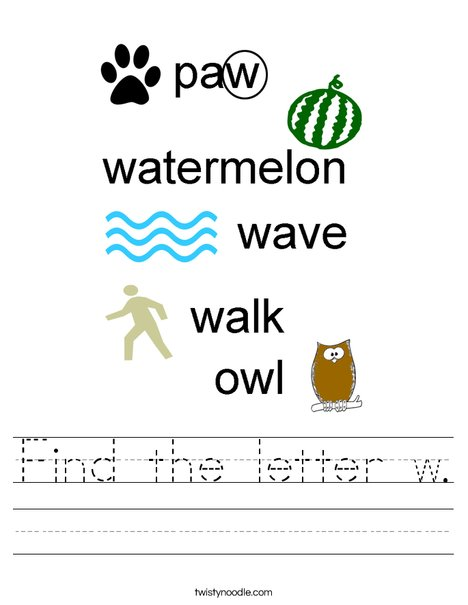 Find the letter w. Worksheet