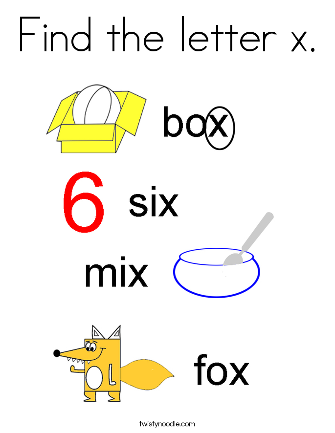 Find the letter x. Coloring Page