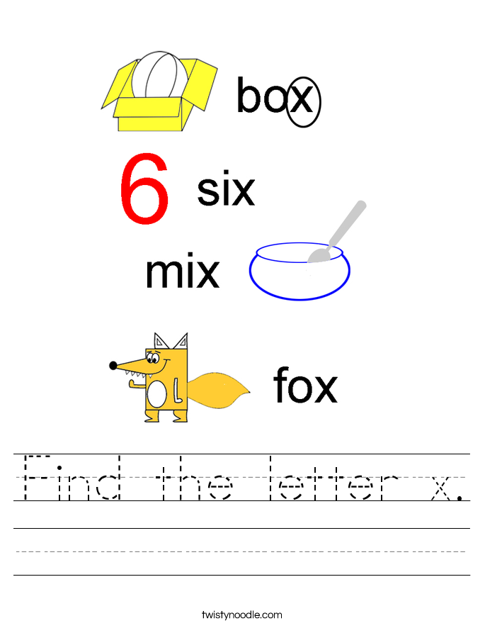 Find the letter x. Worksheet