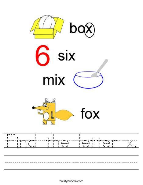 Find the letter x. Worksheet