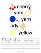 Find the letter y Handwriting Sheet