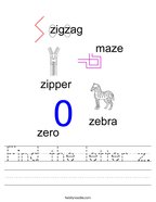 Find the letter z Handwriting Sheet