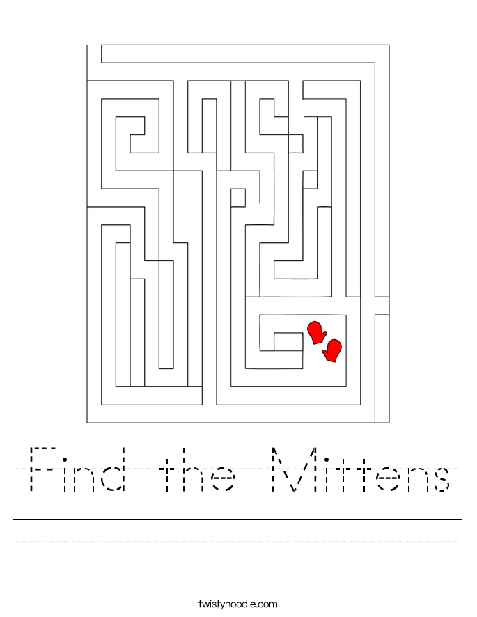 Find the Mittens Worksheet