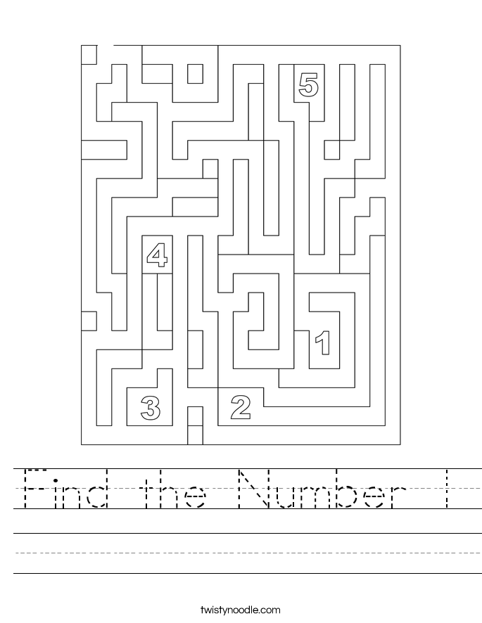 Find the Number 1 Worksheet