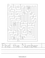 Find the Number 1 Handwriting Sheet