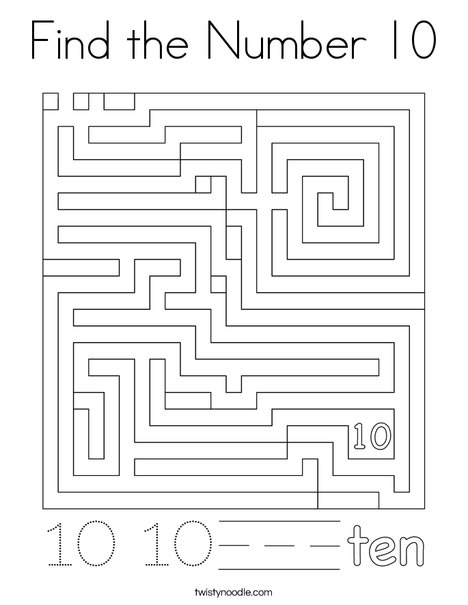 Find the Number 10 Coloring Page