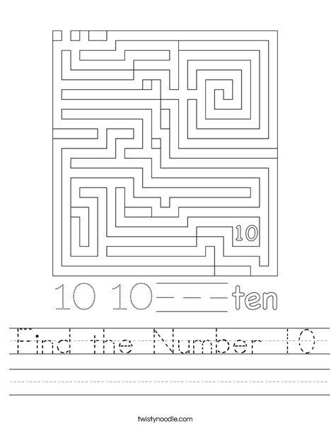 Find the Number 10 Worksheet