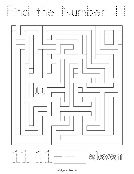 Find the Number 11 Coloring Page - Tracing - Twisty Noodle