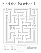 Find the Number 11 Coloring Page