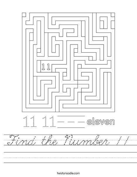 Find the Number 11 Worksheet